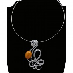 Tour de cou perle tagua olive orange