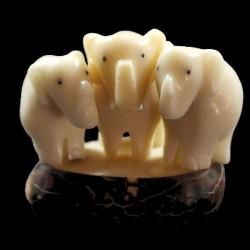 Eléphants taillés dans la graine