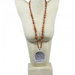 Sautoir perles de tagua teintées en orange
