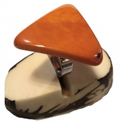 Bague tranche de Tagua en triangle Teintée en Orange