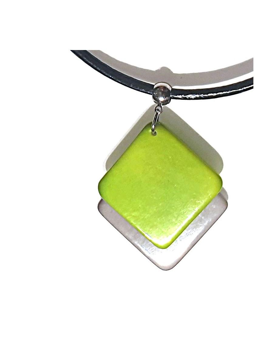 Pendentif doubles carrés en ivoire végétal teinté en Vert et Gris